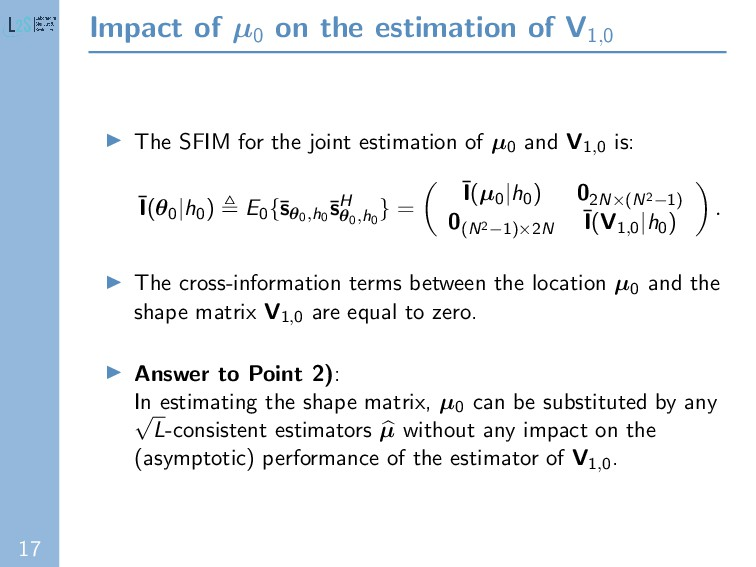 17 Impact of µ0 on the estimation of V1,0 The S...