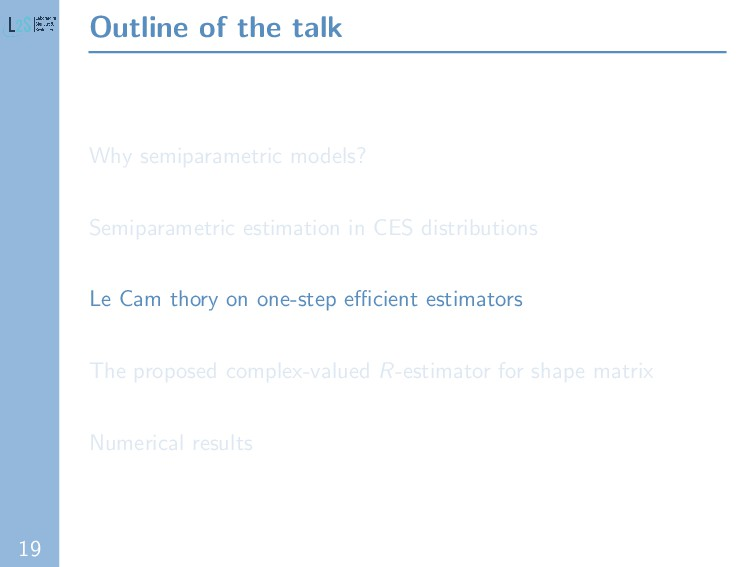 19 Outline of the talk Why semiparametric model...