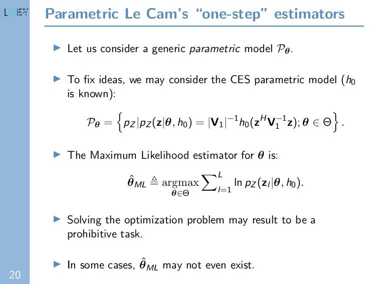 """20 Parametric Le Cam's """"one-step"""" estimators Le..."""