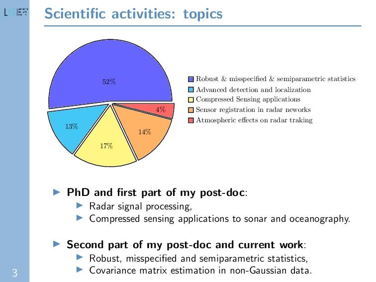 3 Scientific activities: topics 52% 13% 17% 14% ...