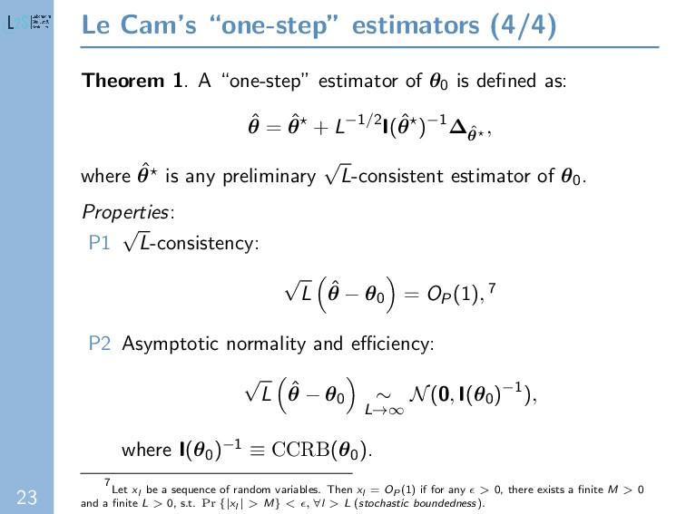 "23 Le Cam's ""one-step"" estimators (4/4) Theorem..."