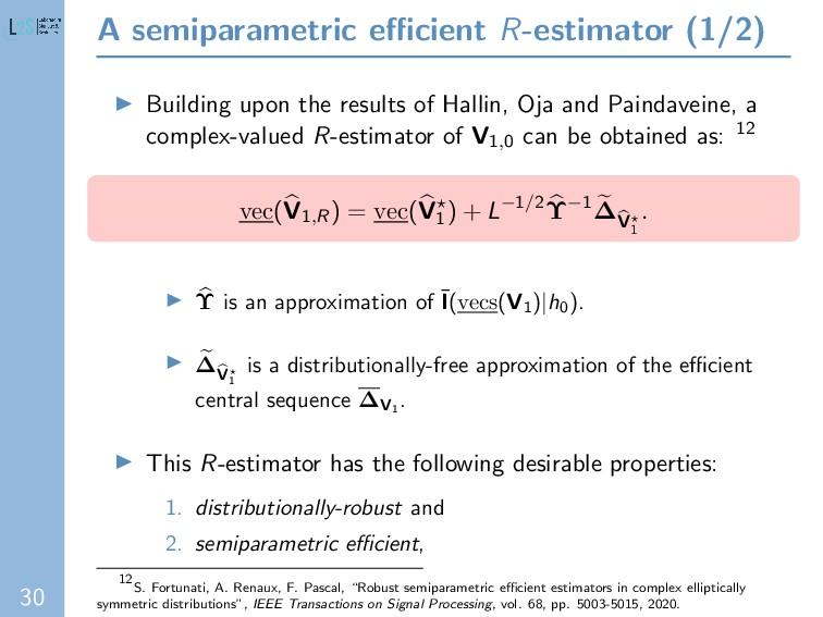 30 A semiparametric efficient R-estimator (1/2) B...
