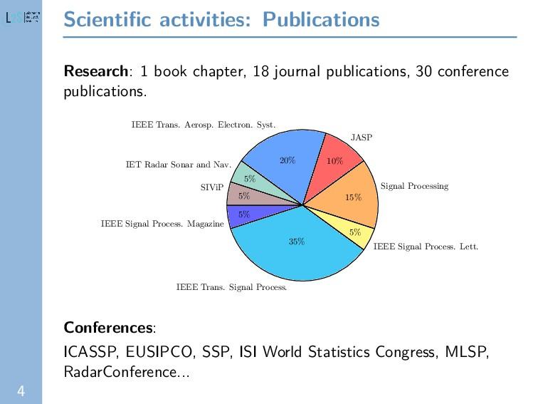4 Scientific activities: Publications Research: ...