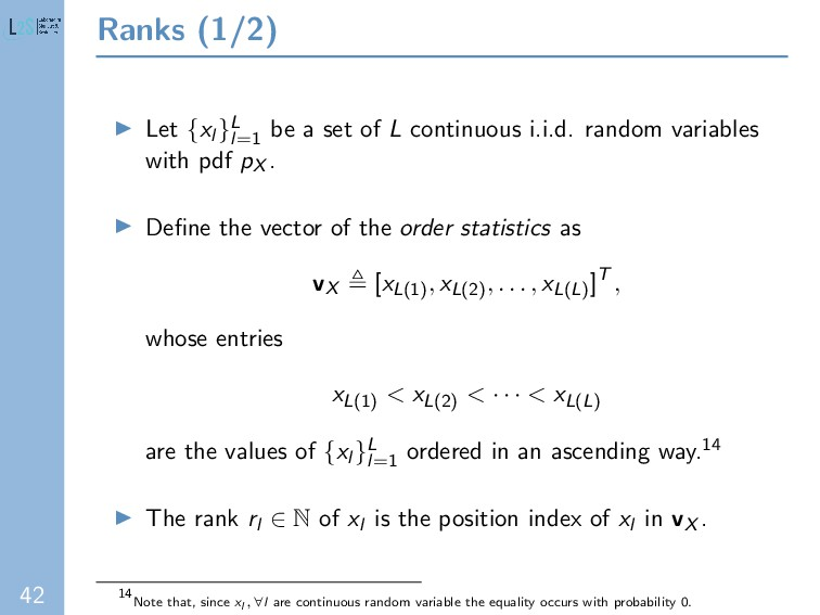 42 Ranks (1/2) Let {xl }L l=1 be a set of L con...