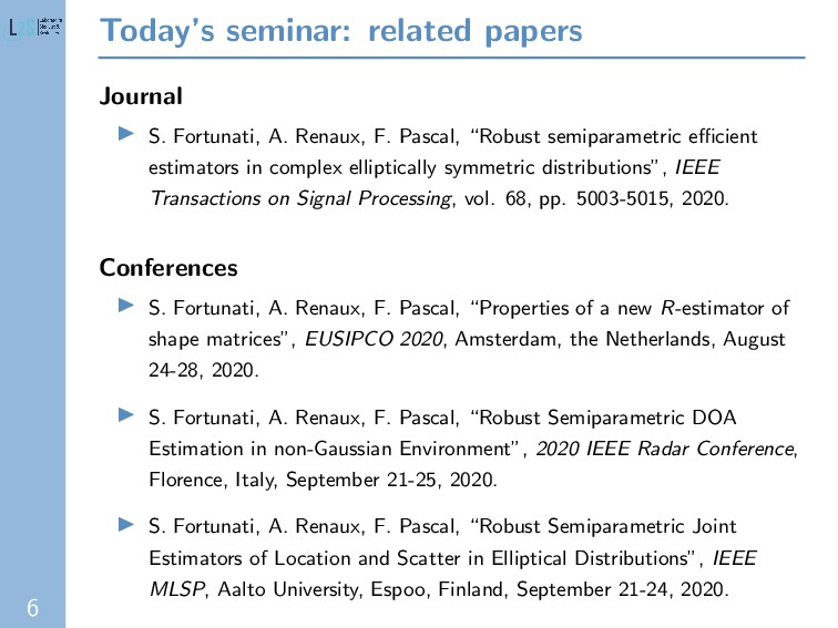 6 Today's seminar: related papers Journal S. Fo...