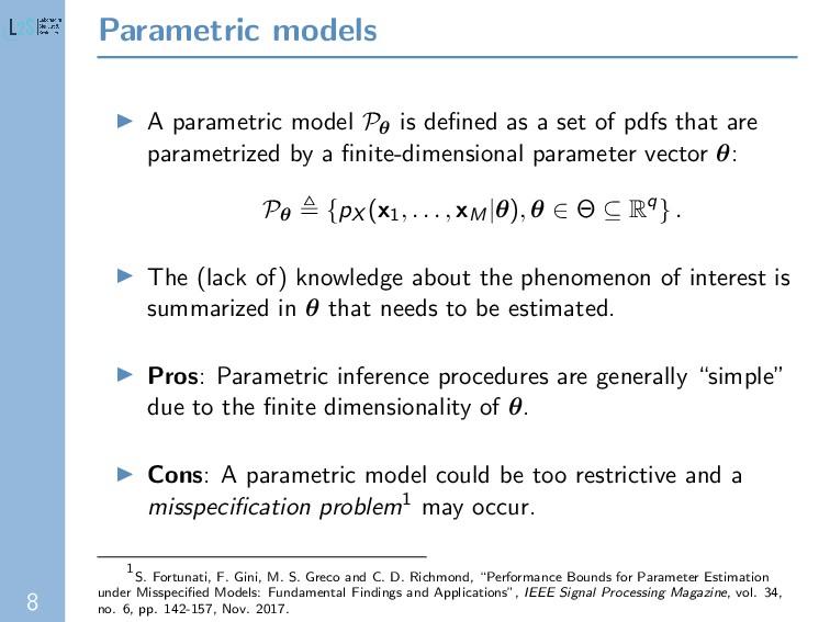 8 Parametric models A parametric model Pθ is de...