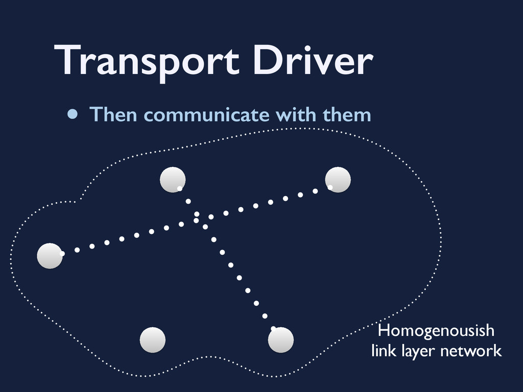 Transport Driver • Then communicate with them H...