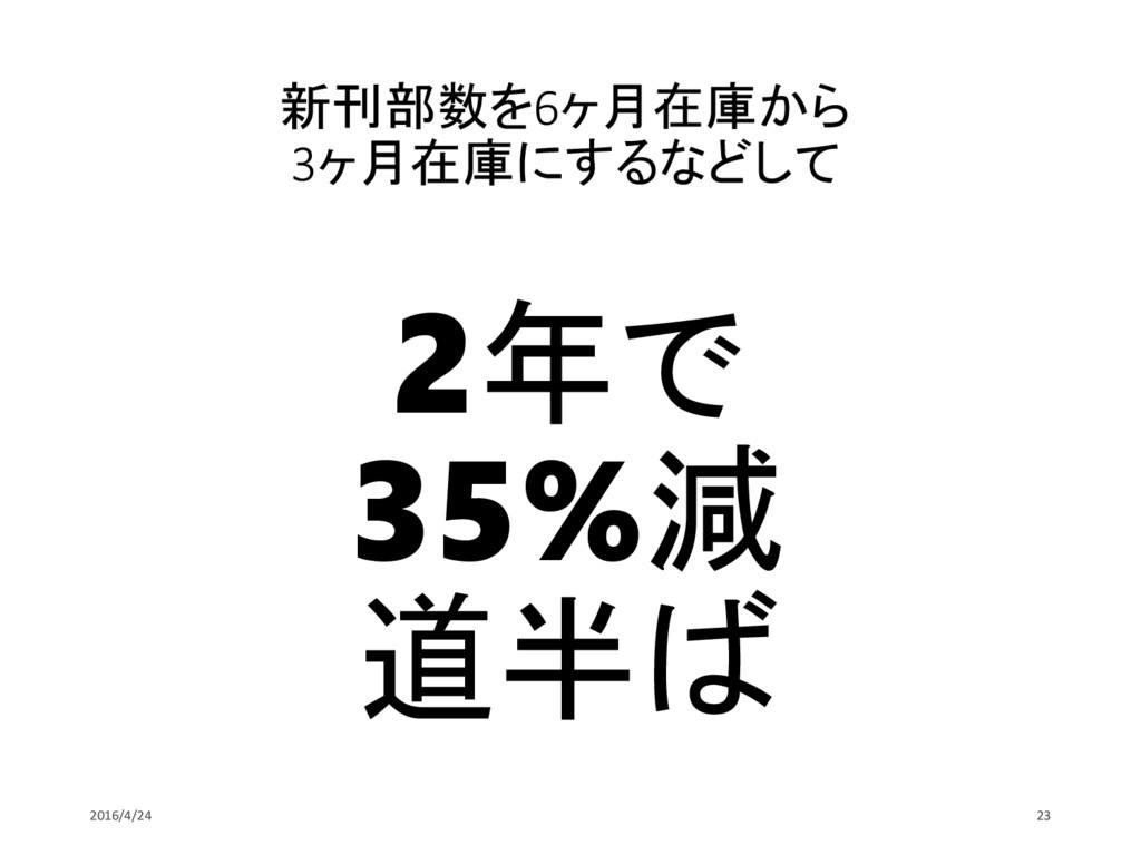 新刊部数を6ヶ月在庫から 3ヶ月在庫にするなどして 2年で 35%減 道半ば 2016/4/2...