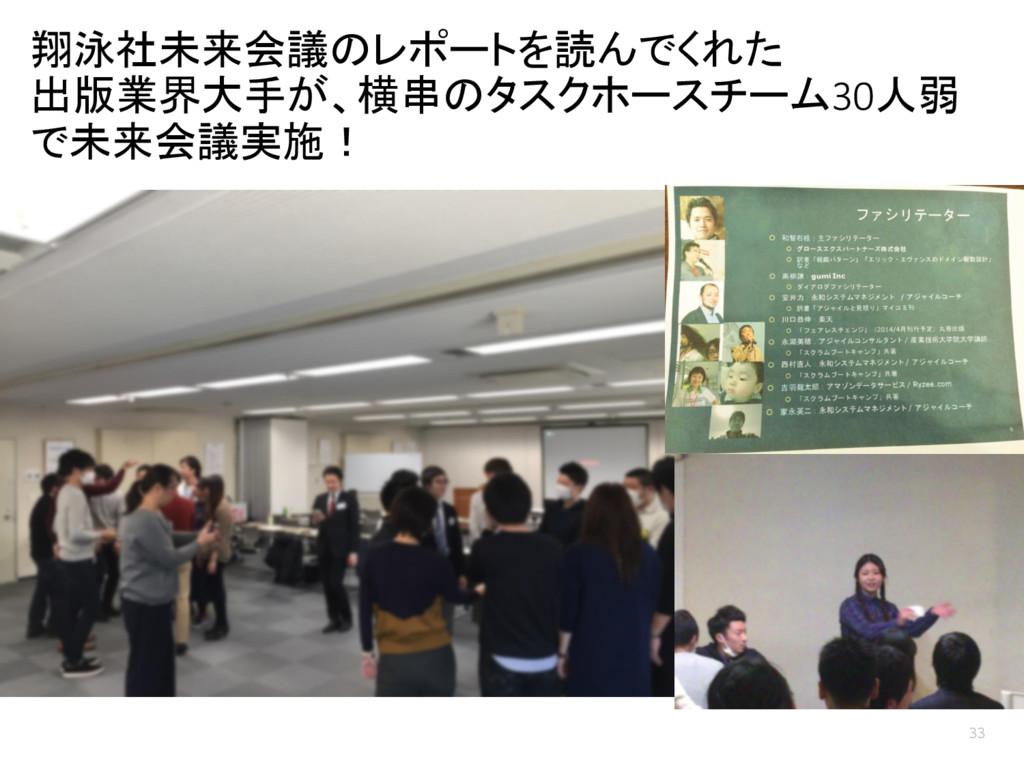 翔泳社未来会議のレポートを読んでくれた 出版業界大手が、横串のタスクホースチーム30人弱 で未...