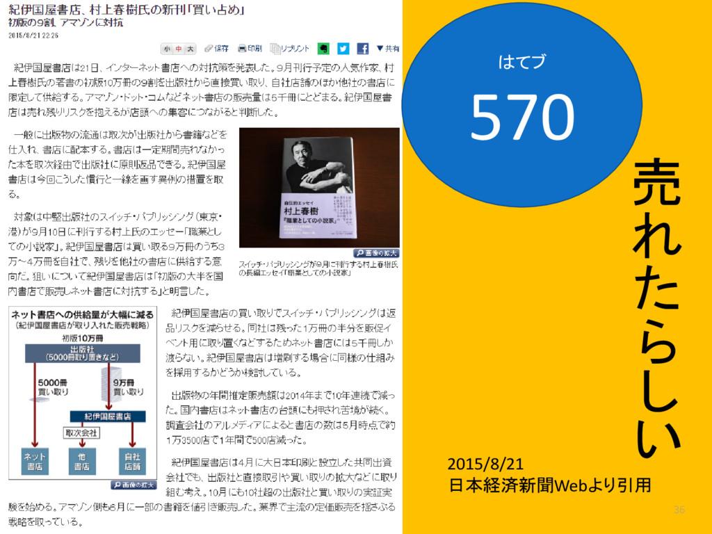 36 2015/8/21 日本経済新聞Webより引用 はてブ 570 売 れ た ら し い
