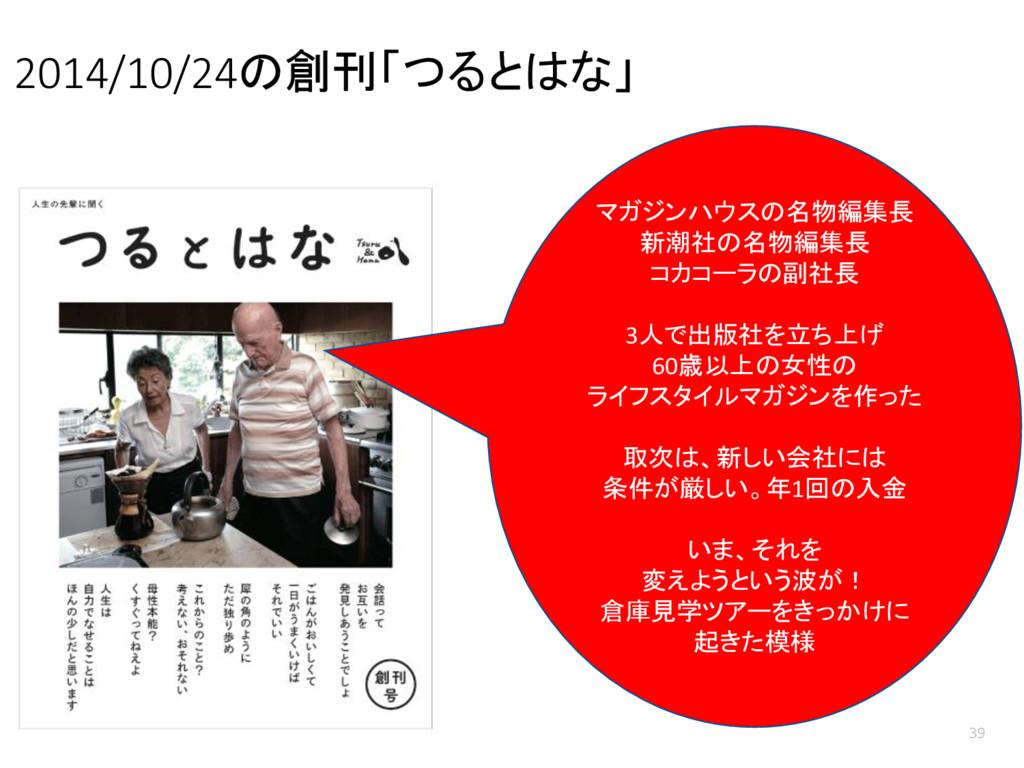 2014/10/24の創刊「つるとはな」 39 マガジンハウスの名物編集長 新潮社の名物編集長...