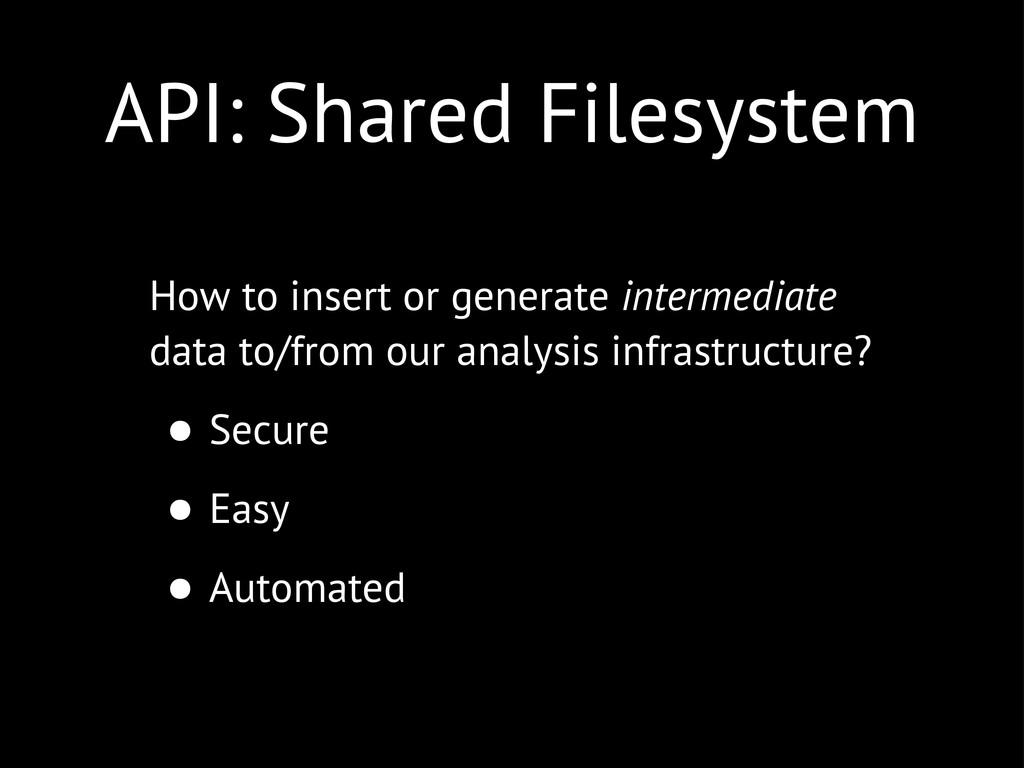 API: Shared Filesystem How to insert or generat...