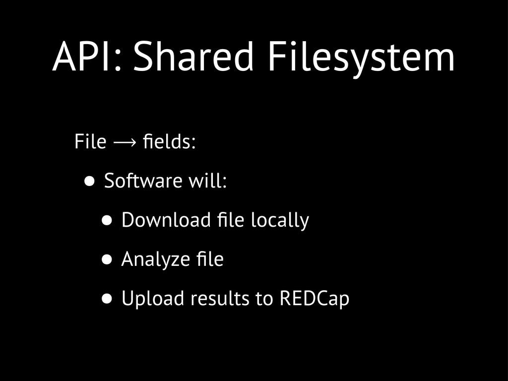 API: Shared Filesystem File ⟶ fields: • Software...