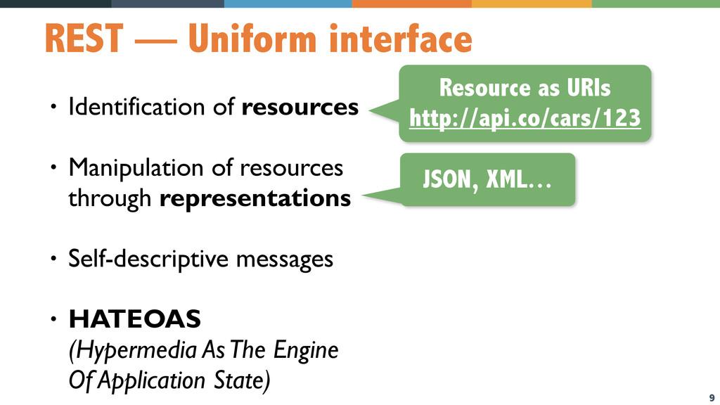 9 REST — Uniform interface • Identification of ...