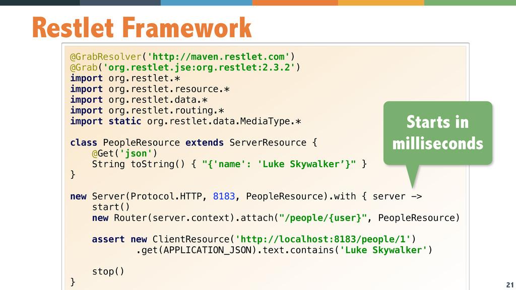 21 Restlet Framework @GrabResolver('http://mave...