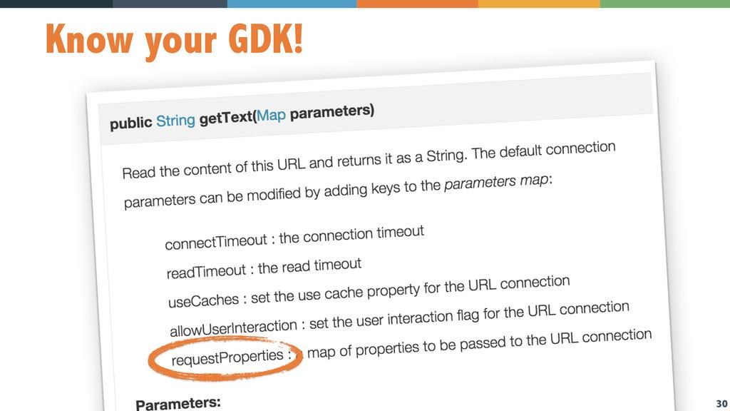 30 Know your GDK!