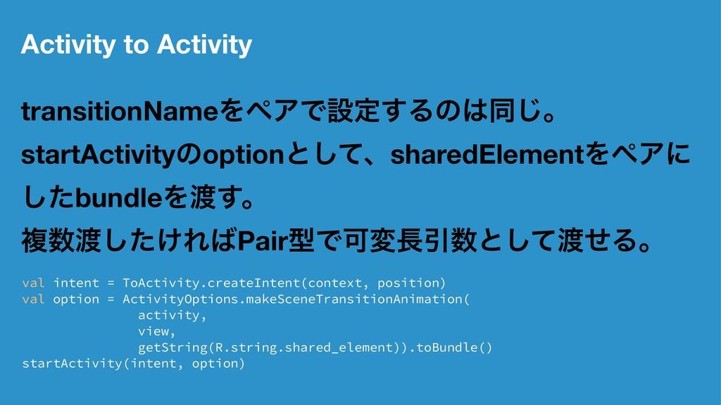 Activity to Activity transitionNameΛϖΞͰઃఆ͢Δͷಉ͡...