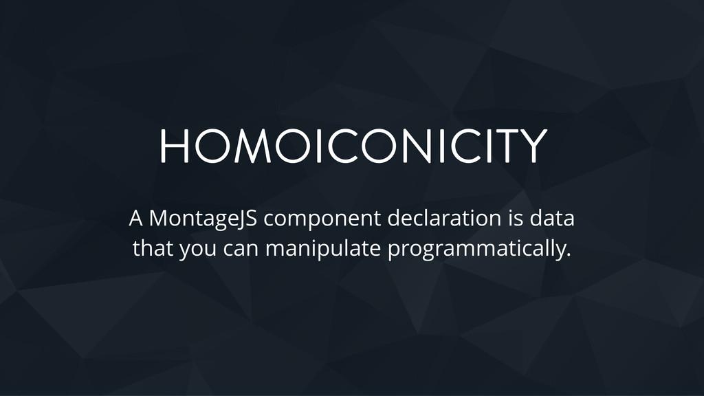 HOMOICONICITY A MontageJS component declaration...