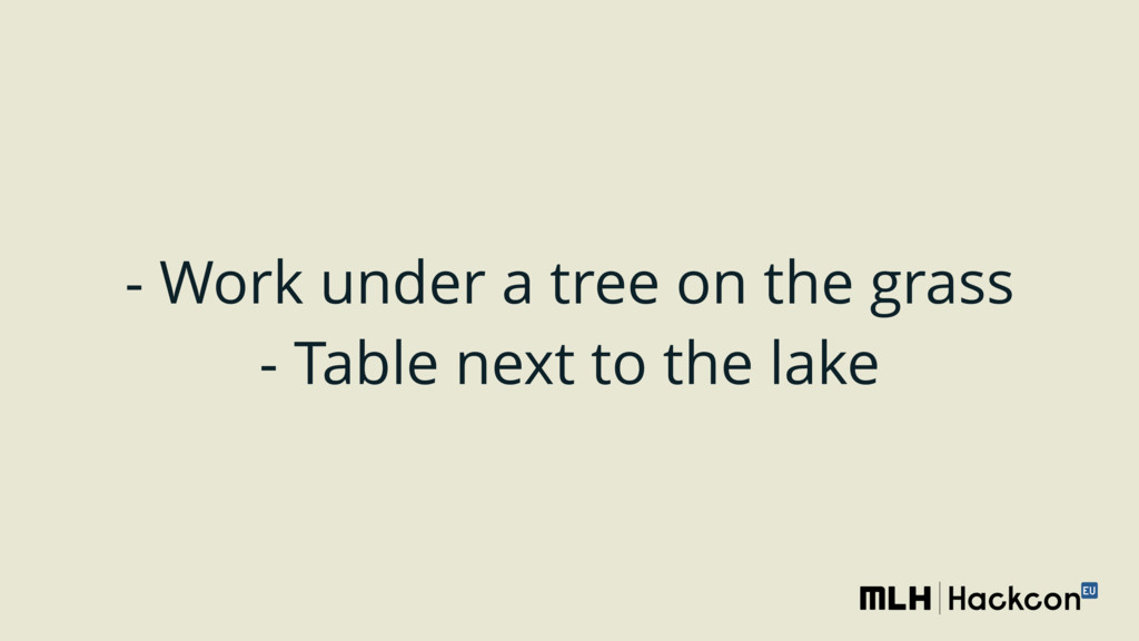 - Work under a tree on the grass - Table next ...