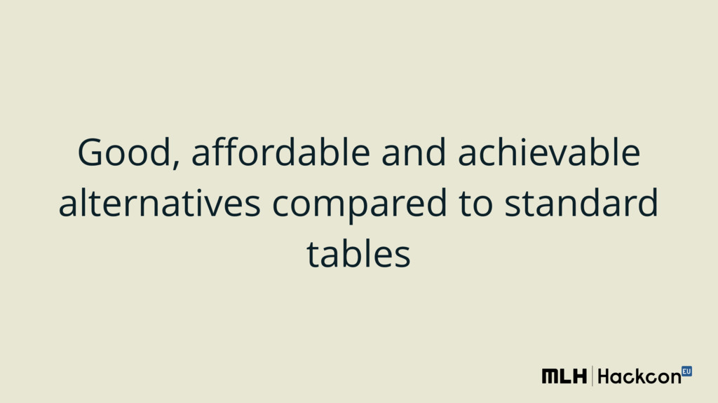 Good, affordable and achievable alternatives com...