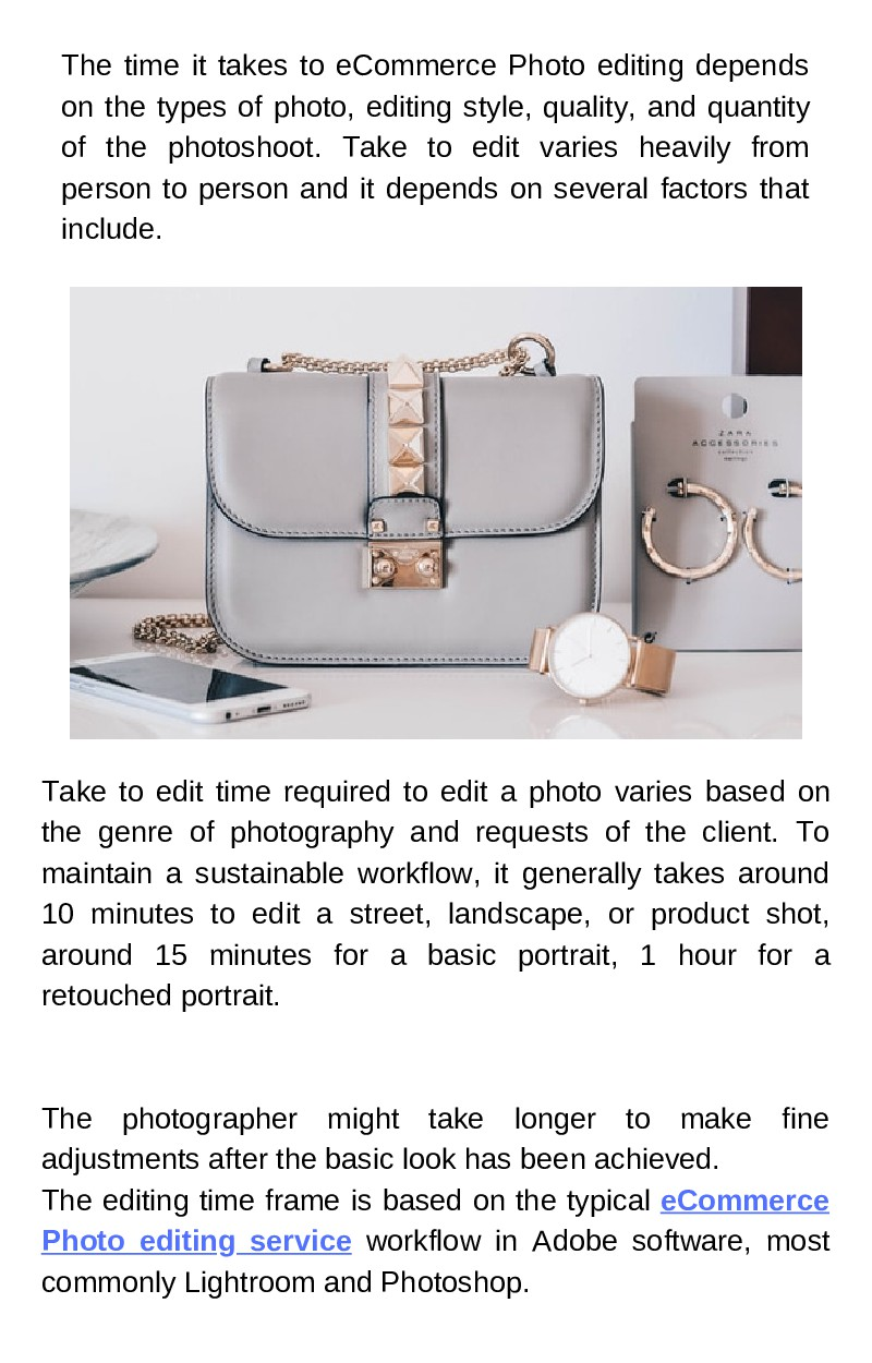 The time it takes to eCommerce Photo editing de...