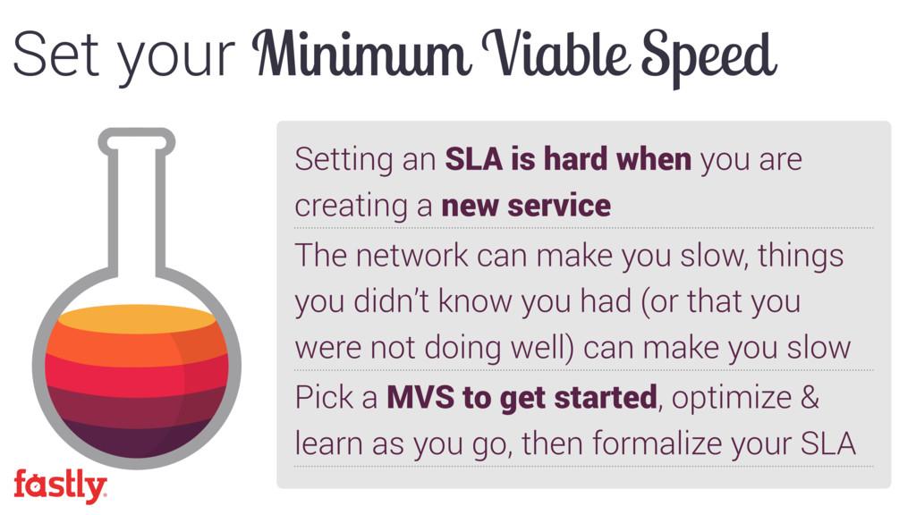 Set your Minimum Viable Speed Setting an SLA is...