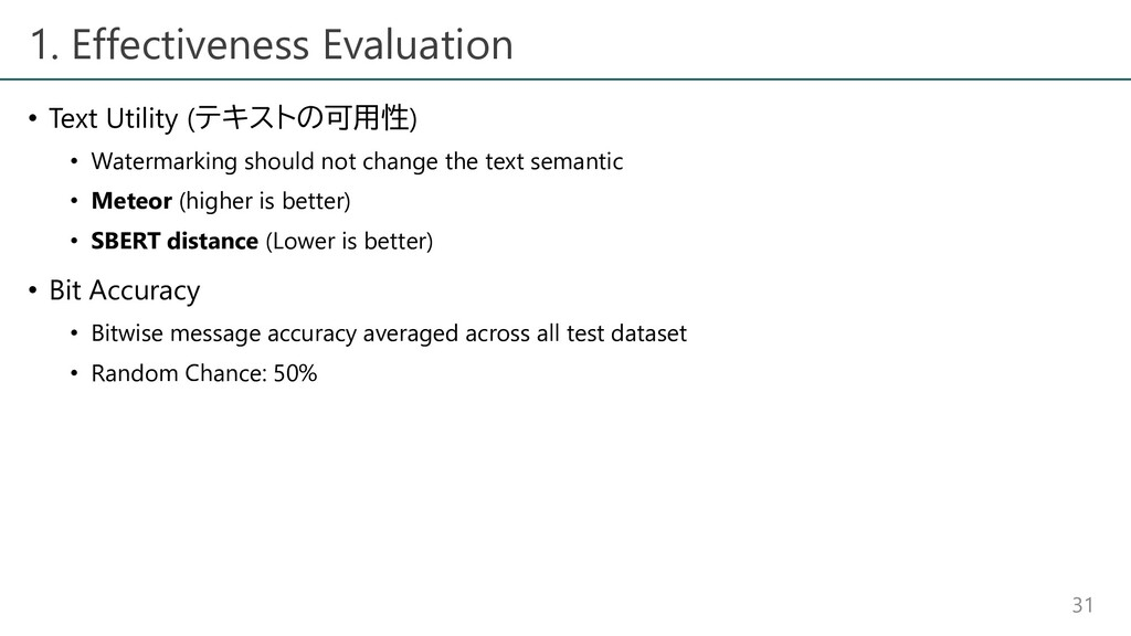 1. Effectiveness Evaluation • Text Utility (テキス...