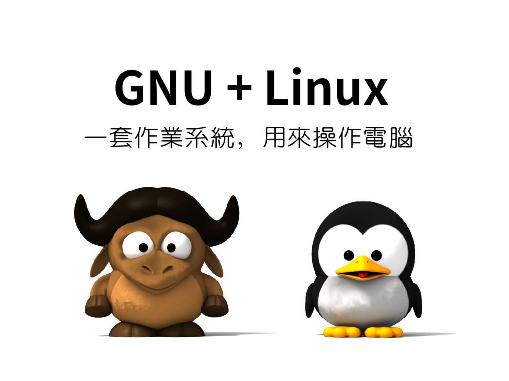 GNU + Linux 一套作業系統,用來操作電腦