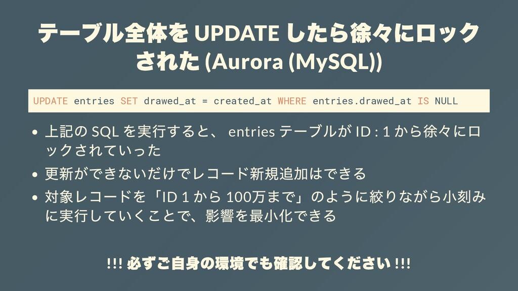 テーブル全体を UPDATE したら徐々にロック された (Aurora (MySQL)) U...