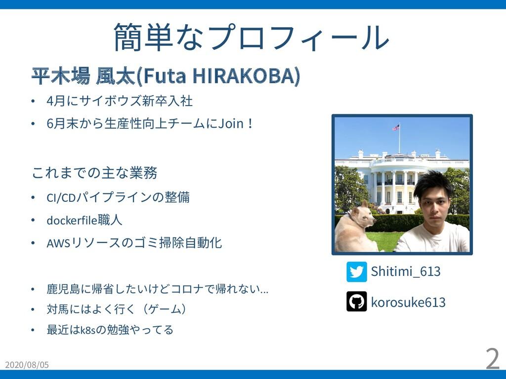 簡単なプロフィール 2020/08/05 2 平⽊場 ⾵太(Futa HIRAKOBA) • ...