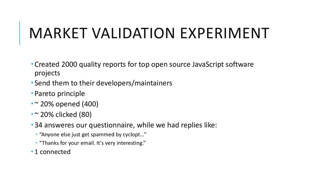 MARKET VALIDATION EXPERIMENT ­ Created 2000 qua...