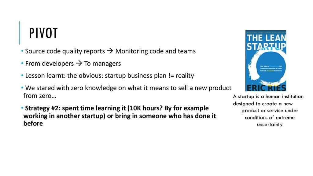PIVOT • Source code quality reports à Monitorin...