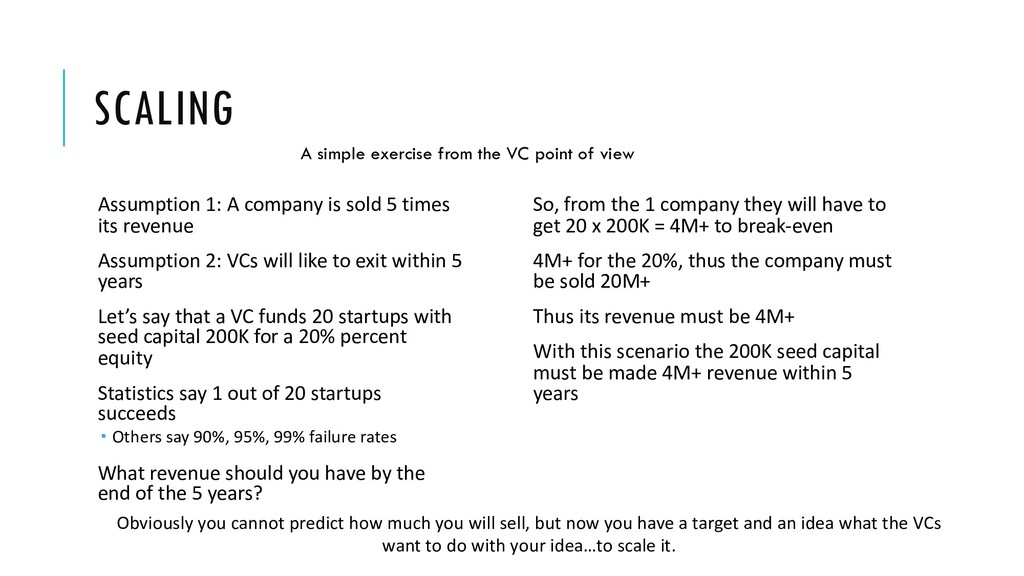 SCALING Assumption 1: A company is sold 5 times...