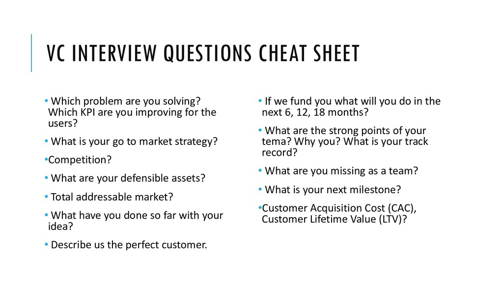 VC INTERVIEW QUESTIONS CHEAT SHEET • Which prob...