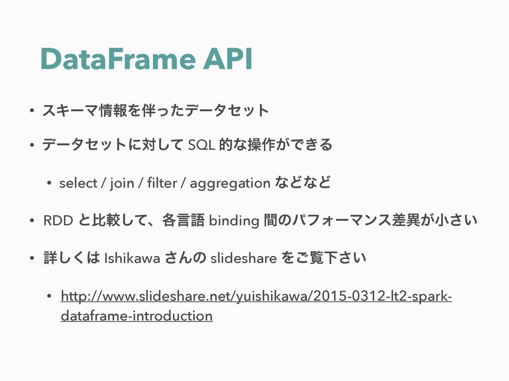 DataFrame API • εΩʔϚใΛͬͨσʔληοτ • σʔληοτʹରͯ͠ S...