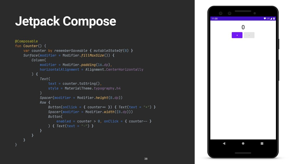 Jetpack Compose @Composable  fun Counter() {  v...