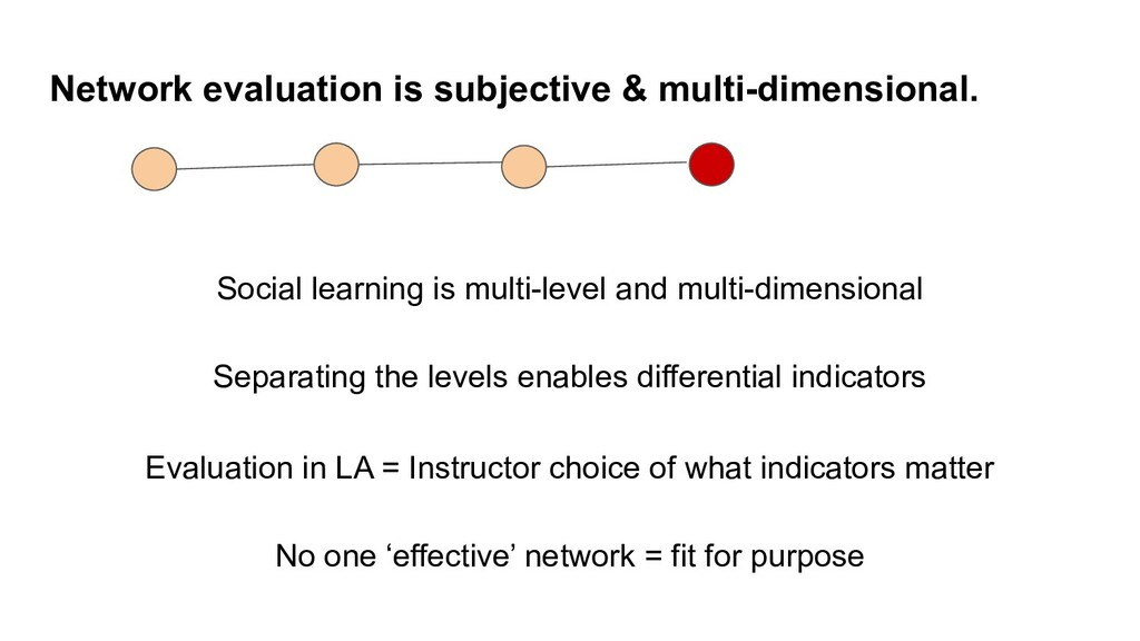 Network evaluation is subjective & multi-dimens...