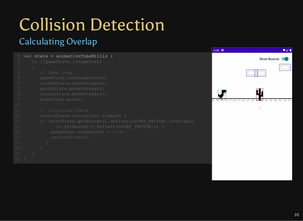Collision Detection Calculating Overlap val sta...