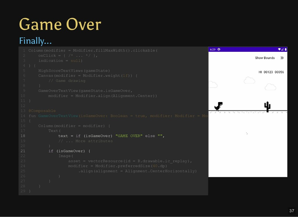 Game Over Finally... Column(modifier = Modifier...