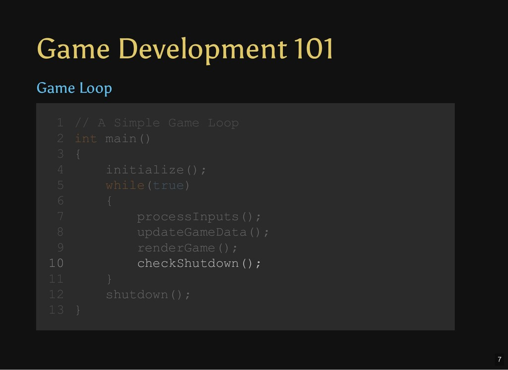 Game Development 101 Game Loop // A Simple Game...