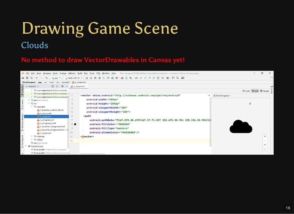 Drawing Game Scene Clouds Text No method to dra...