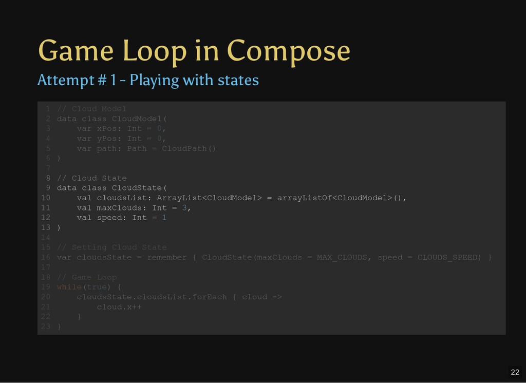 Game Loop in Compose Attempt # 1 - Playing with...