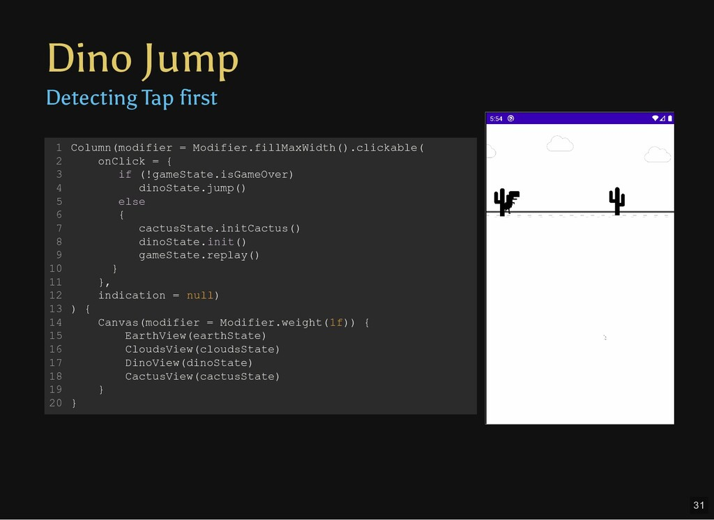 Dino Jump Detecting Tap first Column(modifier =...