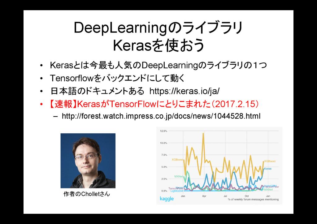 DeepLearningのライブラリ Kerasを使おう • Kerasとは今最も人気のDee...