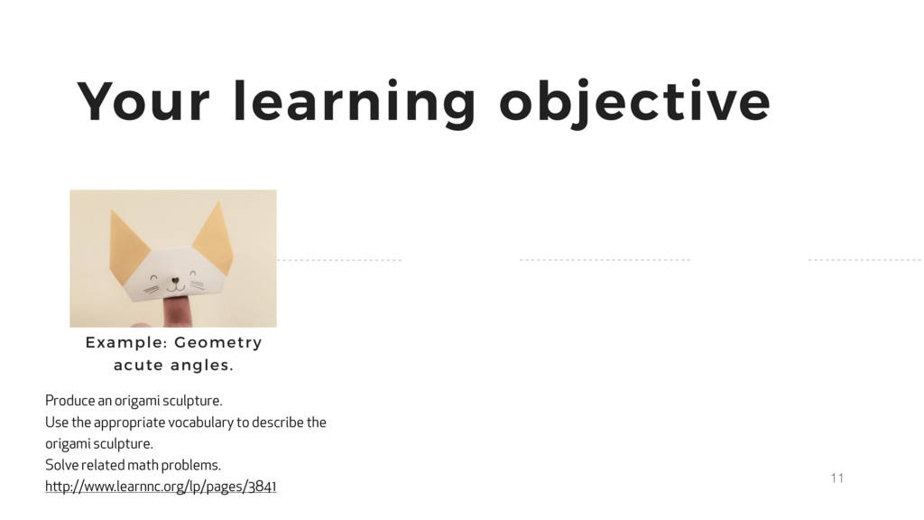 11 Your learning objective Produce an origami s...