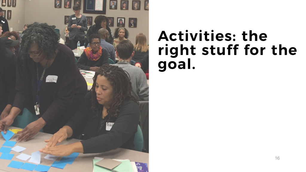 16 Activities: the right stuff for the goal.