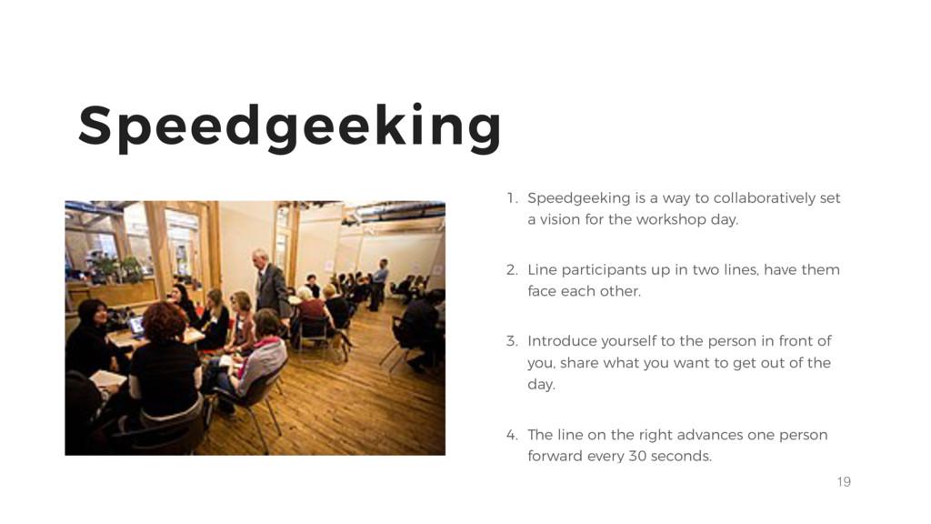 19 Speedgeeking 1. Speedgeeking is a way to col...