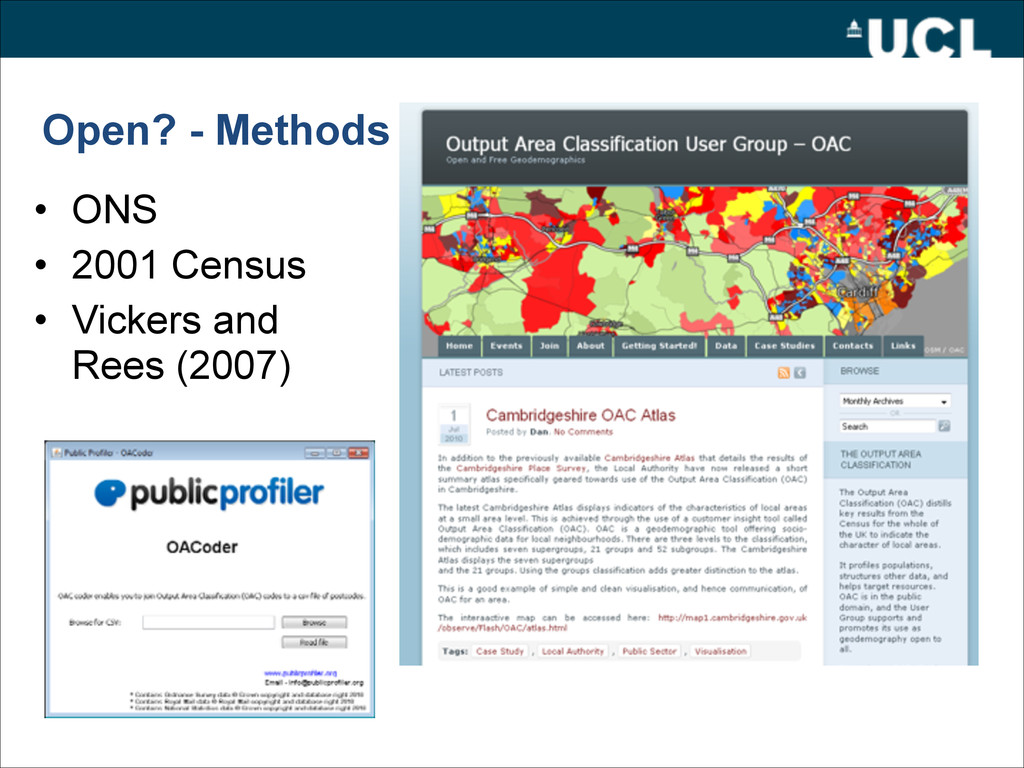 Open? - Methods • ONS • 2001 Census • Vickers a...