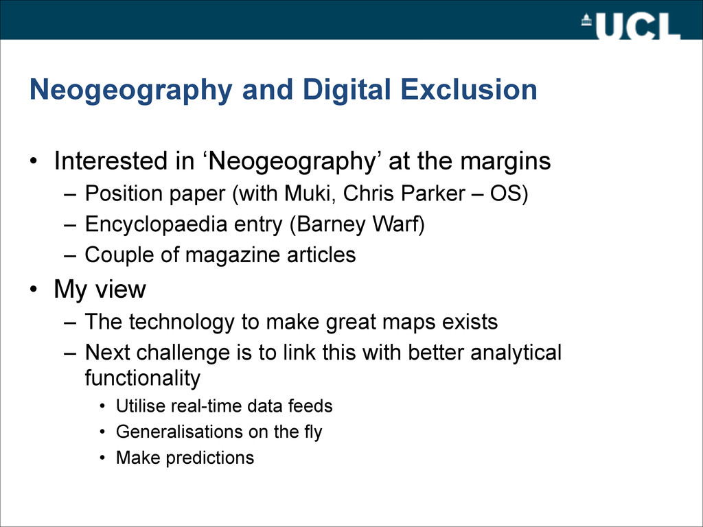 Neogeography and Digital Exclusion • Interested...