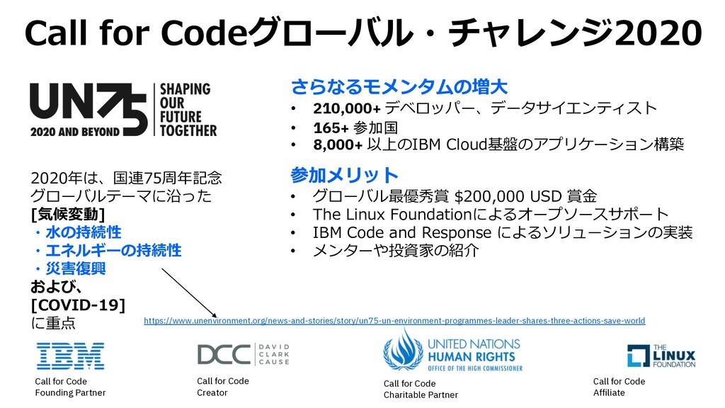 Call for Codeグローバル・チャレンジ2020 さらなるモメンタムの増⼤ • 210...